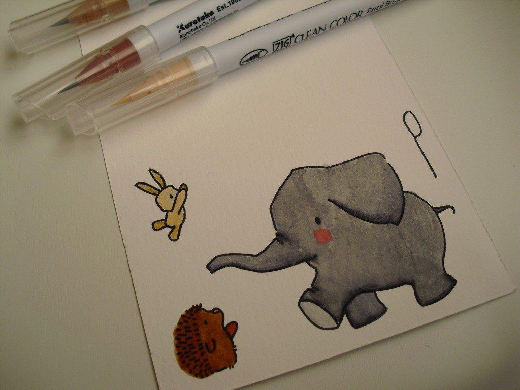 figuras coloreadas tarjeta amistad