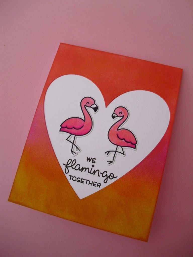 tarjeta flamencos rosa